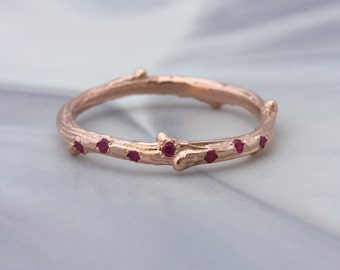 Twig ring with scattered rubies