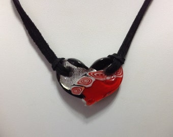 Choker Necklace Boho Chic Trendy Suede Leather Cord Glass Heart Red Foil Silver Plated Ribbon Crimp  CL1500