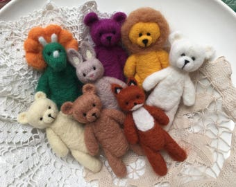 Felted Stuffed Teddy Bear Photo Prop, Tiny Fox Toy, Tiny Stuffed Animal,Needle felted Props,Cat Kitten Felted Toy,Newborn Photography Prop