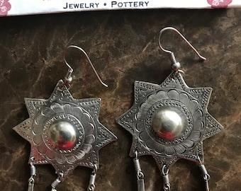 Sterling Silver Southwest American Indian Earrings