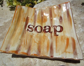 Ridged Ceramic Soap Dish Bathroom Kitchen Decor