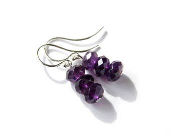 Amethyst Sterling Earrings Argentium Silver Earwires Faceted Rondelle Dark Purple Natural Stone Violet Earrings Amethyst Earrings #18660
