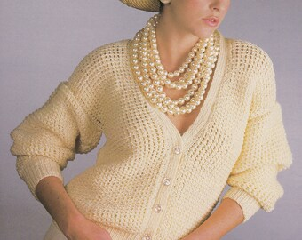 Womens double knit cardigan vintage knitting pattern pdf INSTANT download pattern only PDF 30 32 34 36 38 40 inches