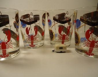 set of 4 sea food glasses