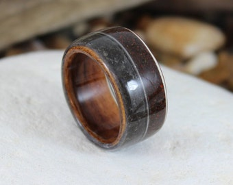 Wood Ring with Dinosaur Bone, Meteorite and a Guitar String. Meteorite Ring, Dinosaur Bone Ring, Handmade Wooden Rings In Any Size