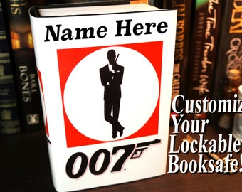 James Bond Secret Compartment Box Book Safe Personalized Boyfriend Gift Mens Personalized Mens Brother Gift Boyfriend Birthday Gift Gun Safe