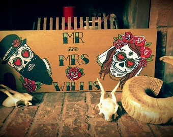 Hand painted personalized sugar skull tattoo wedding boards
