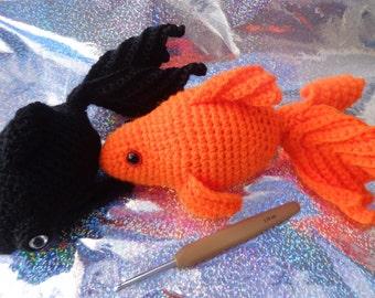 Black moor Goldfish crochet handmade Aquatic soft toy Aquarium figure fish pets