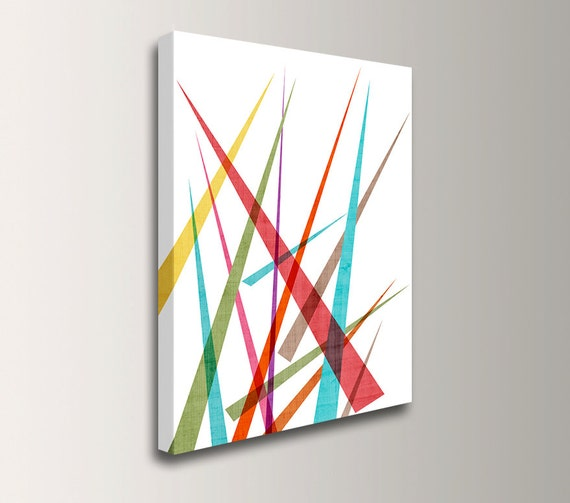"Mid Century Modern Wall Art - Colorful Canvas Art - Geometric Wall Decor - Red, Teal and Green Art "" Slivers 5 """