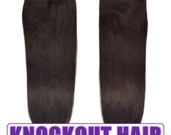 "Fits like a Halo Hair Extensions 20"" Dark Brown (#2) - Human No Clip In Flip In Couture by Knockout Hair"