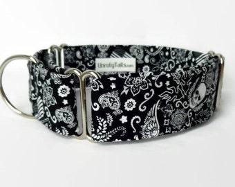 Black Bandana Adjustable Dog Collar - Martingale Collar or Side Release Buckle Collar  -  Biker / Rocker / Rockabilly bandanna with skulls