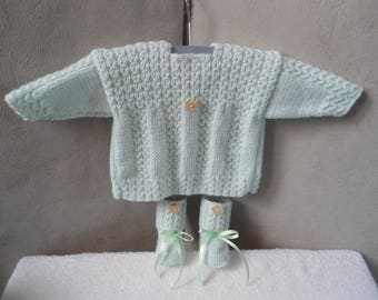 Set top + booties baby/reborn pale green size 0/3 months