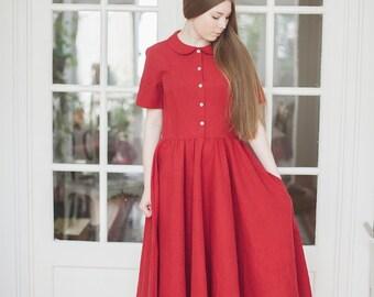 Maxi Dress, Women Linen Clothing, Red Maxi Dress, Peter Pan Collar Dress, Short Sleeves Dress, Linen Kaftan / Red Poppy Classic Dress SS