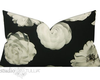 Black and White Floral Pillow Cover - Decorative Pillow Cover - Lumbar - 16X24 - Iman - black and white - dahlias