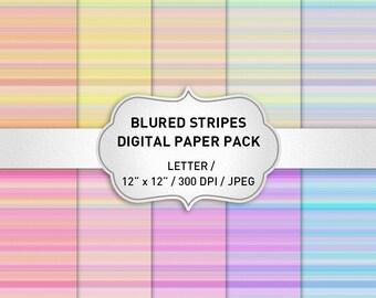 Abstract Digital Paper, Striped Digital Paper, Pastel Digital Paper Pack, Instant Download, Scrapbook Digital Papers, Web Backgrounds