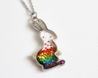 Rainbow Bunny Glitter Necklace