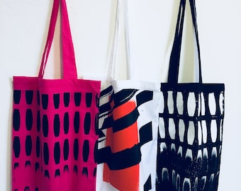 Poniente and Eivissa Hand Pulled Screen Printed Totes - Geometric/Abstract Pattern
