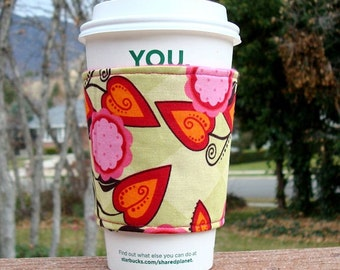 Fabric coffee cozy / coffee cup holder / coffee sleeve / tea sleeve -- Ivy Lime and Fuchsia -- Andalucia by Patty Young