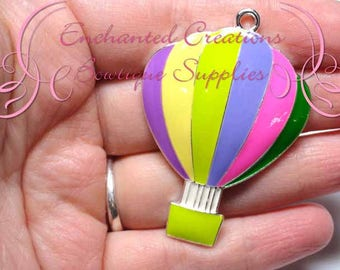 "2"" Rainbow Hot Air Balloon Chunky Jewelry Pendant, Planner Charm, Keychain, Bookmark, Zipper Pull, Purse Charm, Planner Charm"