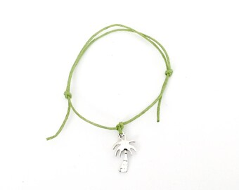 PALM TREE Friendship Bracelet - Green Cord - Summer Holiday
