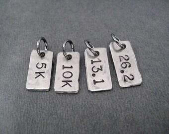 ONE (1) Hand Hammered Nickel Silver - Choose Distance - 5K, 10K, 13.1, 26.2 or XC Pendant Only - Hand Hammered Nickel Silver Runner Charm