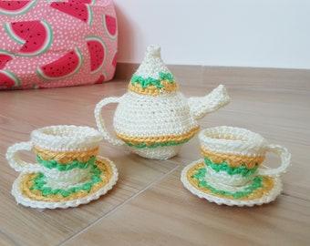 Crochet Teapot / Teacup / Saucer Toy Play Set for Children