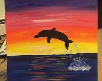 Dolphin Sunset, Dolphin, Dolphin Art, Sunset, Ocean, Ocean Painting, Dolphin Painting, Sunset Painting, Art for Kids, Girls, Boys, peaceful