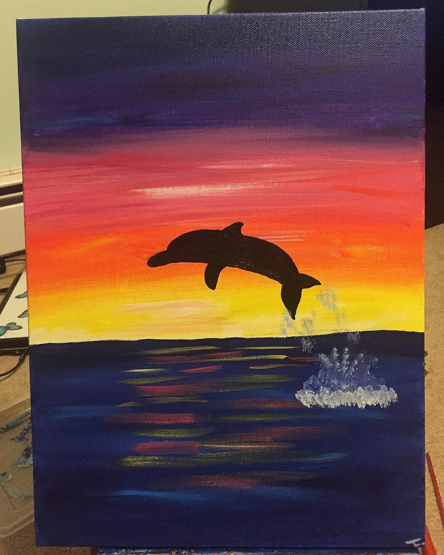 Dolphin Sunset Art Ocean