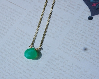 Green Chrysoprase Necklace, Wire Wrapped Solitaire Teardrop Gemstone with Gold Chain