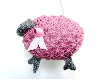 Breast Cancer Awareness Knitted Pink Sheep Fundraiser Knit Sheep Holiday Ornament Hand Knit Ornament Pink Lamb Hanging Ornament