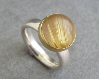 Rutilated Quartz Silver & Gold Ring