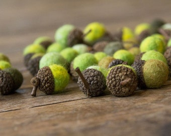 Set of 6 SHADES OF GREEN  Wool Felted Acorns- use for beautiful wedding decor, home accessories and Christmas ornaments