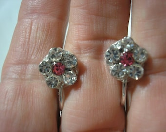 "Play Earring - Clip - Rhinestone Flower - Pink - 3/8"""