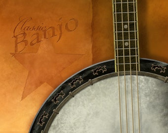 The Banjo - 8 x 10 rustic yellow Americana bluegrass musical instrument art print by Red Creek Design Co