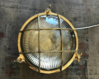 Vintage Brass Circular Light with etched glass- Salvaged - Refurbished, Restored, Rewired and Ready for use!