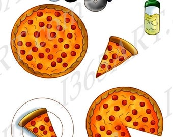 50% OFF Pizza Clipart, Pizza Clip Art, Scrapbooking, Party Invitations, Pizza Party, Pepperoni, Pizza Graphic, Italian Food, PNG, Commercial