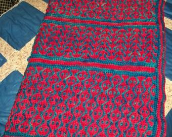 Große Häkeln werfen afghanischen benutzerdefinierte Farbstoff 100 % Wolle Garn Mosaik Wahnsinn Lobstah in das Meer Multi tiefrote Petrol-blau-grün