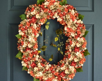 Oval Blended Hydrangea Wreath | Front Door Wreaths | Summer Wreath | Autumn Wreath | Fall Wreath | Hydrangea Wreath | Housewarming Gift