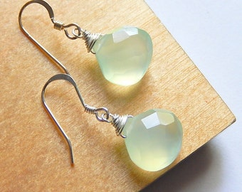 Pale Green Drop Earrings, Mint Green Chalcedony Teardrops, Sterling Silver