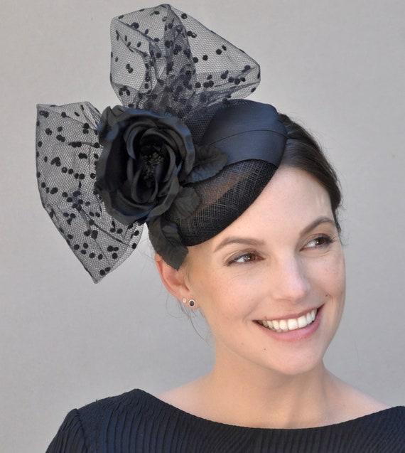 Fascinator, Cocktail Hat, Wedding Fascinator, Black Fascinator, Pillbox Hat, Fascinator Hat, Percher