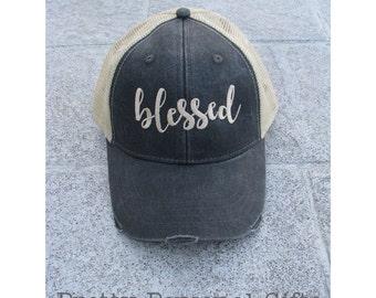 Blessed Trucker Hat, Distressed baseball trucker hat, Blessed Hat, Grateful Thankful Blessed hat, Blessed, Blessed cap, Blessed Baseball Hat
