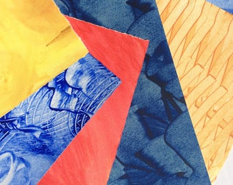Paste paper. Hand decorated paper for all creative uses. Blue, yellow, red.  Ref 1703
