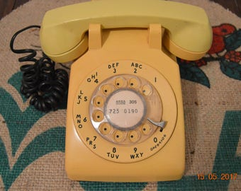 Yellow Vintage Rotary Telephone