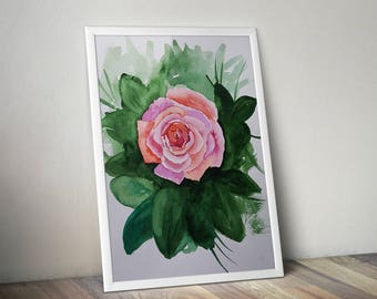 Original watercolor painting, Rose painting, Original fine art