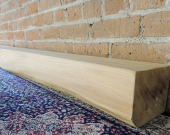 "Fireplace Mantel 67"" x 6"" x 5"" - 1800's Elm Wood Barn Beam Mantel - Fast Shipping - Reclaimed Fireplace Mantle - Floating Shelf"