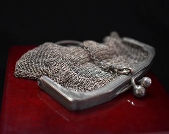 Sterling Change Purse Key Chain Mail Silver Mesh 925 Key Ring Keychain Accessory Handbag Miniature