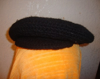 Black Crochet Beret