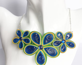 Beautiful eco-friendly paper flower necklace. Perfrct gift for her.