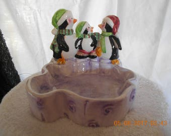 Home Trends Christmas Penquin Candy Bowl