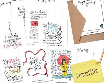 PRINTABLE DIGITAL DOWNLOAD Scripture Graced Life Card Set of 8 with 4 Printable Encouragement Notes